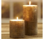 Burlap and gold accents at Pottery Barn shed new light on traditional pillar candles