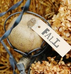 Burlap faux-pumpkin lasts from year to year