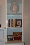 Books, photos, Elise vase and vintage bar set