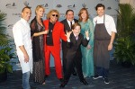 Chefs Marc Forgione and Joseph Lenn, Sammy Hagar with wife Kari, Emeril with wife Alden and son EJ