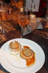 Duo of pairs and Cristal champagne for dessert