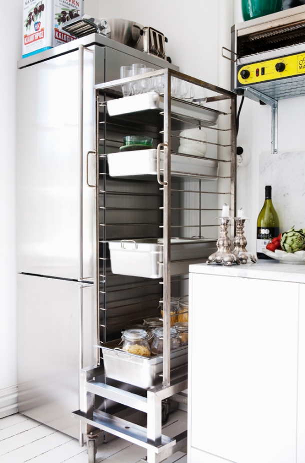 Commercial dish rack doubles as modern shelving