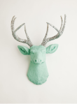 Stag Deer Head, White Faux Taxidermy
