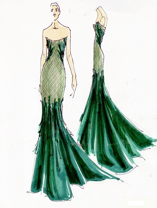 Donna Karan Emerald Gown Sketch