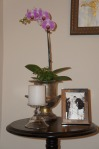 I paired the orchid with a simple candle and framed photo