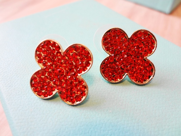 Rhinestone earrings from Clover Boutique