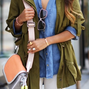 Chambray shirt and military jacket