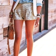 Chambray shirt and sequin shorts