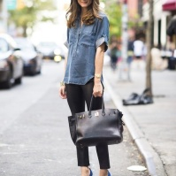 Chambray shirt and black leggings