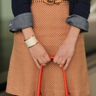 Chambray shirt with herringbone skirt