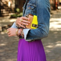 Chambray shirt with maxi skirt