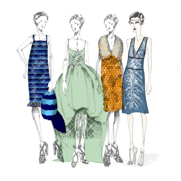 Prada Sketches for Great Gatsby