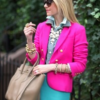 Chambray shirt with pink blazer