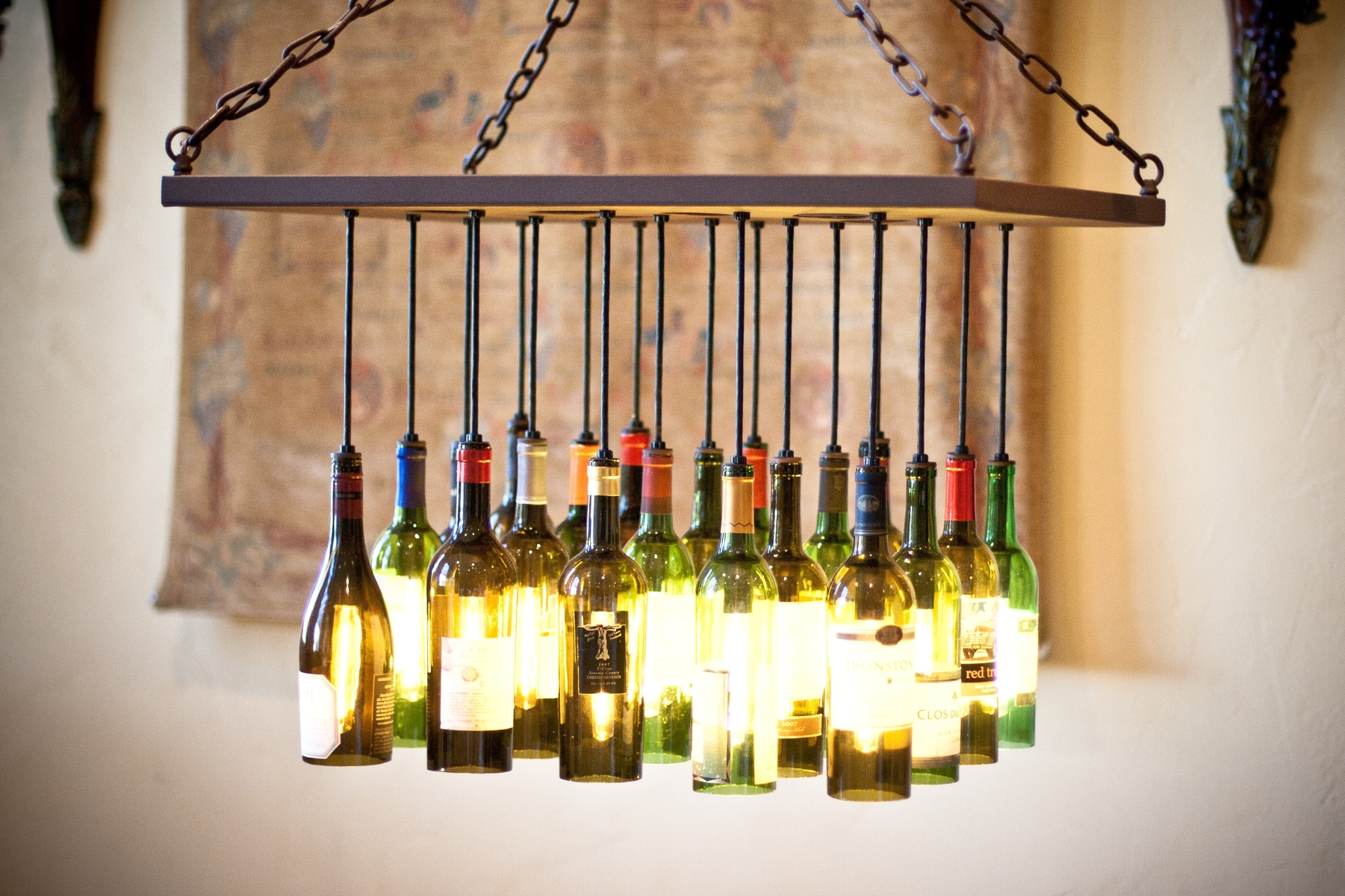 Sediment empty statements what your recycled wine bottles say about you - Wine bottles chandelier ...