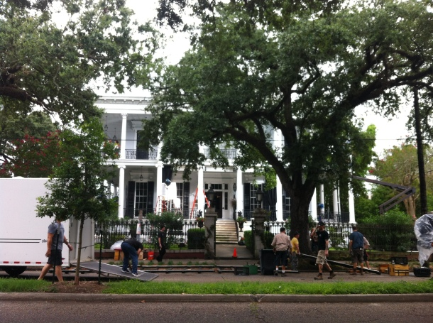 Film crews outside of the Buckner Mansion