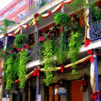 Christmas Balconies in New Orleans, Courtesy Kathy Dunham