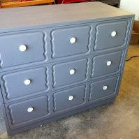 Dresser AFTER: grey paint and new knobs