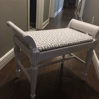 Vanity Chair AFTER: new upholstery with Greek key fabric