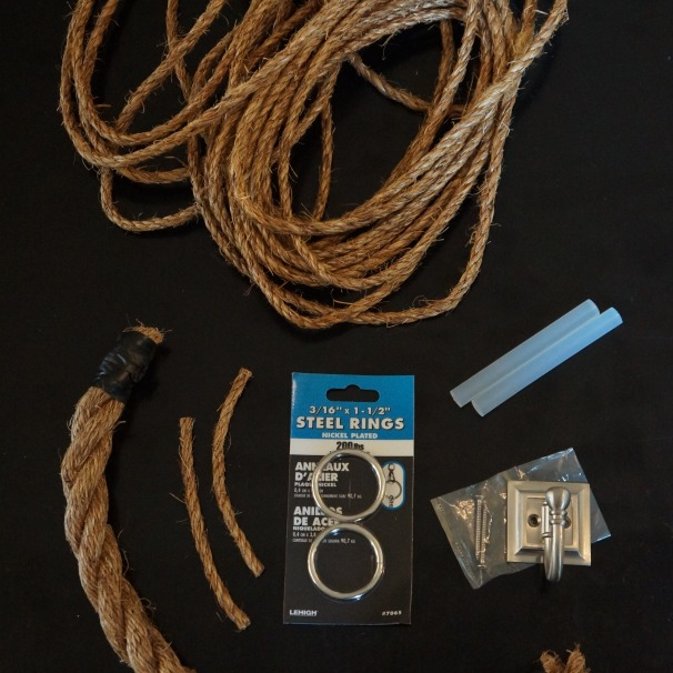 "Start with 1"" rope, 1/4"" rope, rings, a wall hook and hot glue"