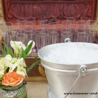 Vintage suitcase with champagne flutes