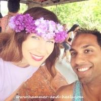 Bold purple flower headband