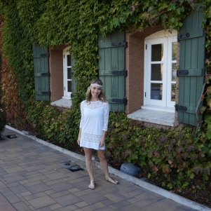 Wearing all white at Viansa Winery in Sonoma Valley