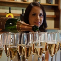 Pouring sparkling wine at Gloria Ferrer Winery in Sonoma Valley