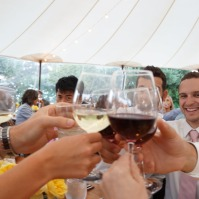 A toast for the bride and groom at Cornerstone Winery in Sonoma Valley