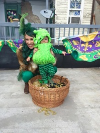 Mardi Gras martian mom and baby